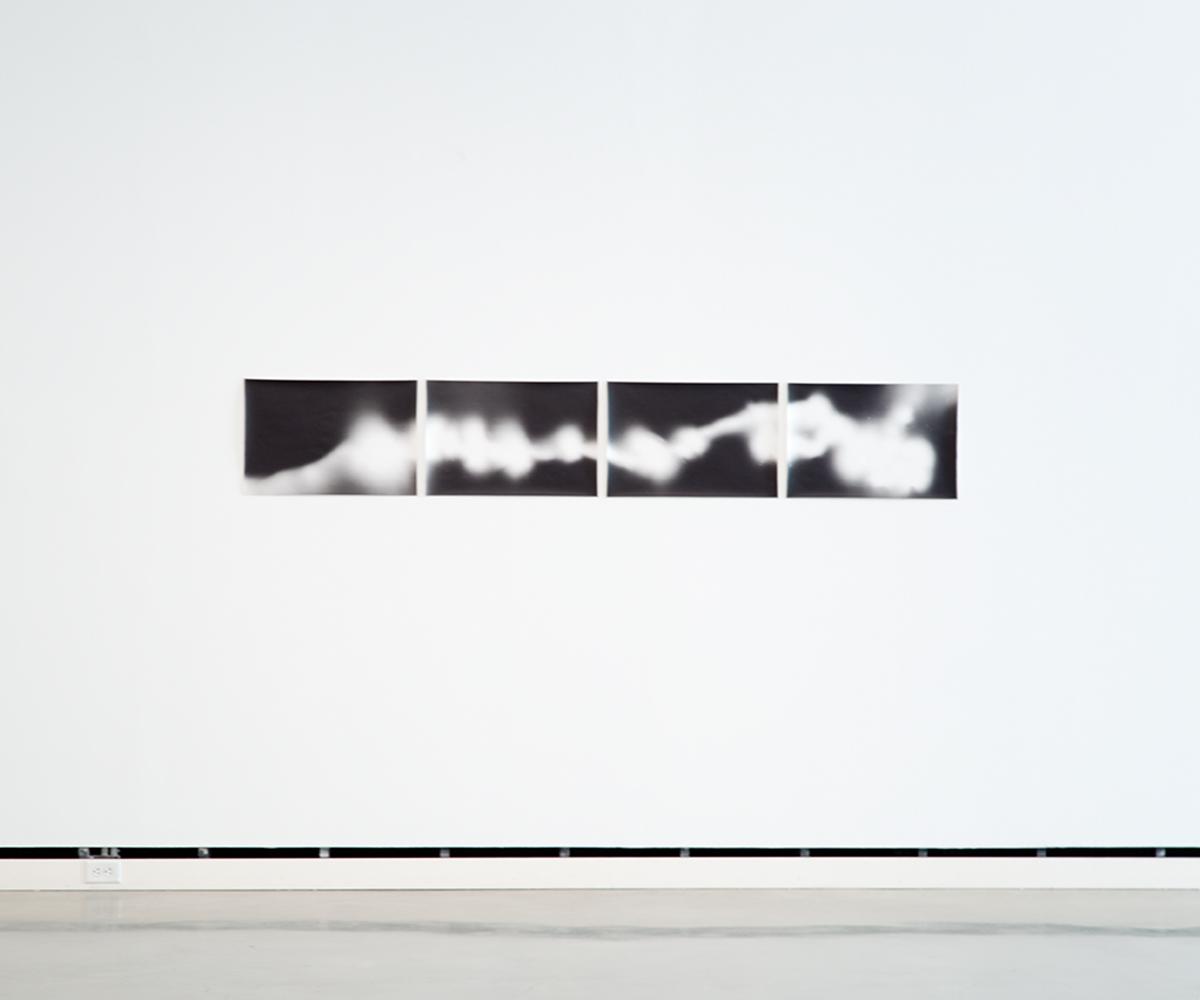 Leuchtkaefer (Bewegung auf 35 mm film) / Glow-worm (Movement on 35 mm film), 2010. 4 b&w photographs, silver gelatin prints. 15 ½ x 23 inches each, 15 ½ x 95 inches overall.