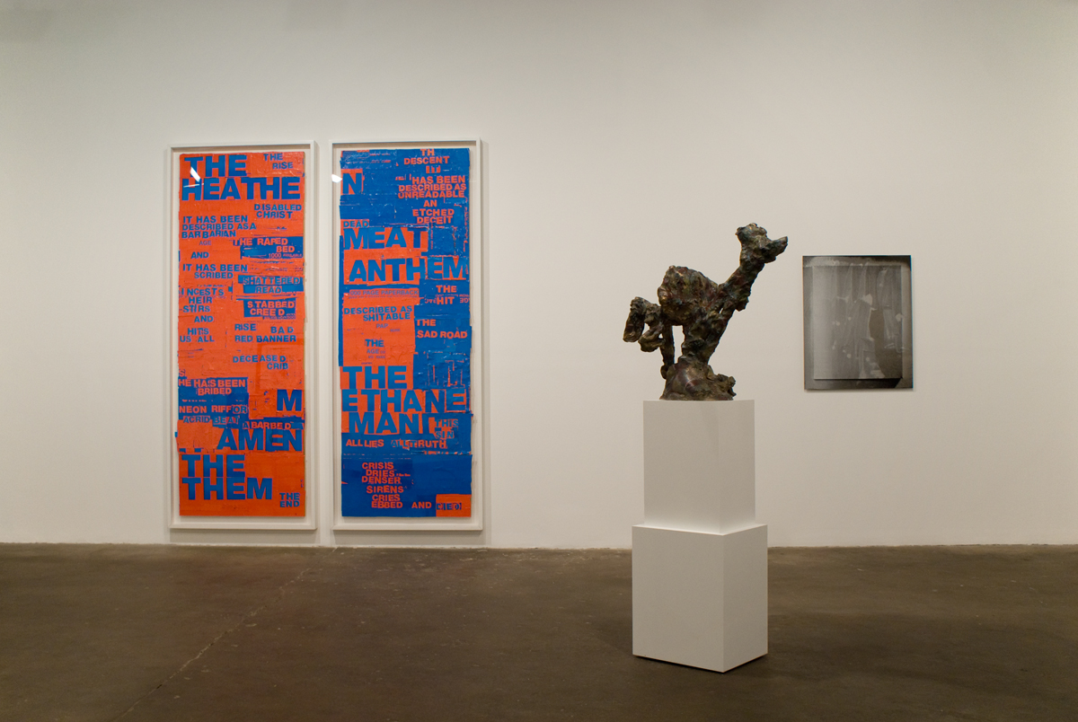 The Secret Life of Ojects, Gallery 1 installation view. Left to right: Fiona Banner, The Rise and the Descent, 2003; Rebecca Warren, Tartan Dancer 2, 2005-08; Nathan Hylden, Untitled, 2009.