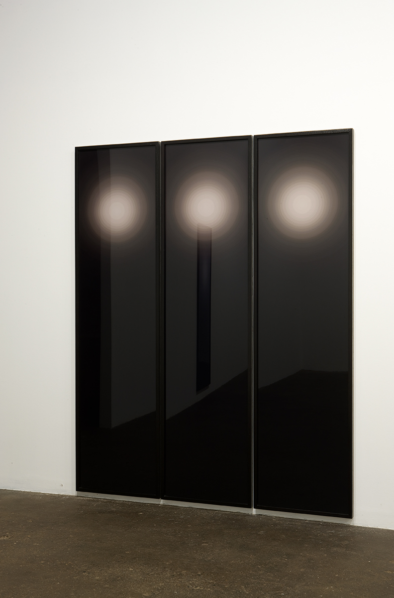 Untitled (3 part flare), 2008. Three c-prints mounted to acrylic in artist's frames. 78 x 64 inches. Unique.