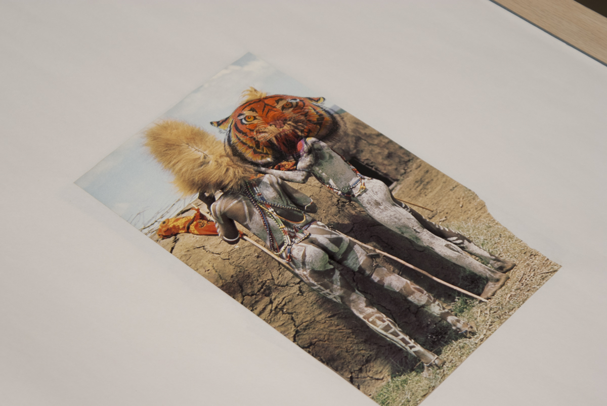 Ti-ti-tigers, detail, 2009. Artist's book with temporary tattoos. 24 x 18 inches.
