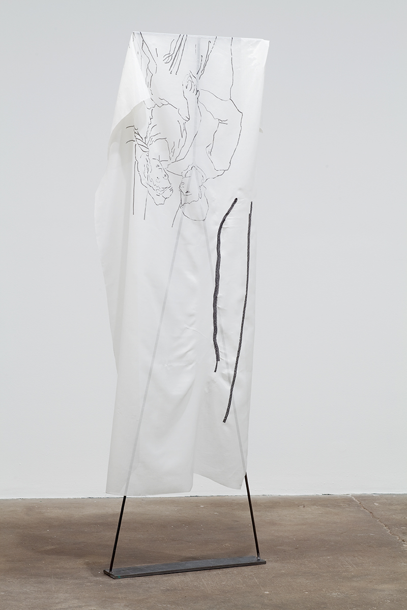 Untitled (Picasso: The Lovers), 2010. Steel, fabric, embroidery, permanent marker. 79 x 25 x 4 inches.