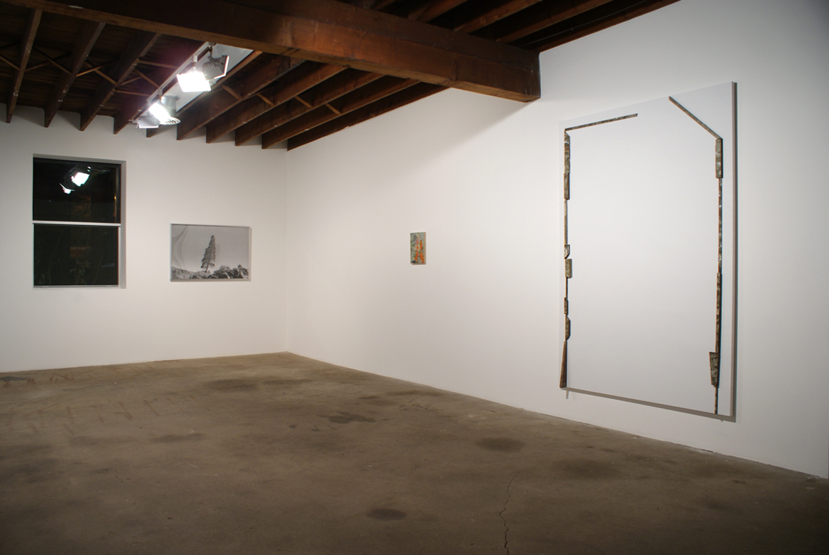 Catawampus (for H.D.), installation view. Left to right: Shannon Ebner, Leaning Tree, 2002; Richard Aldrich, Untitled, 2008; Richard Aldrich, Untitled, 2008;