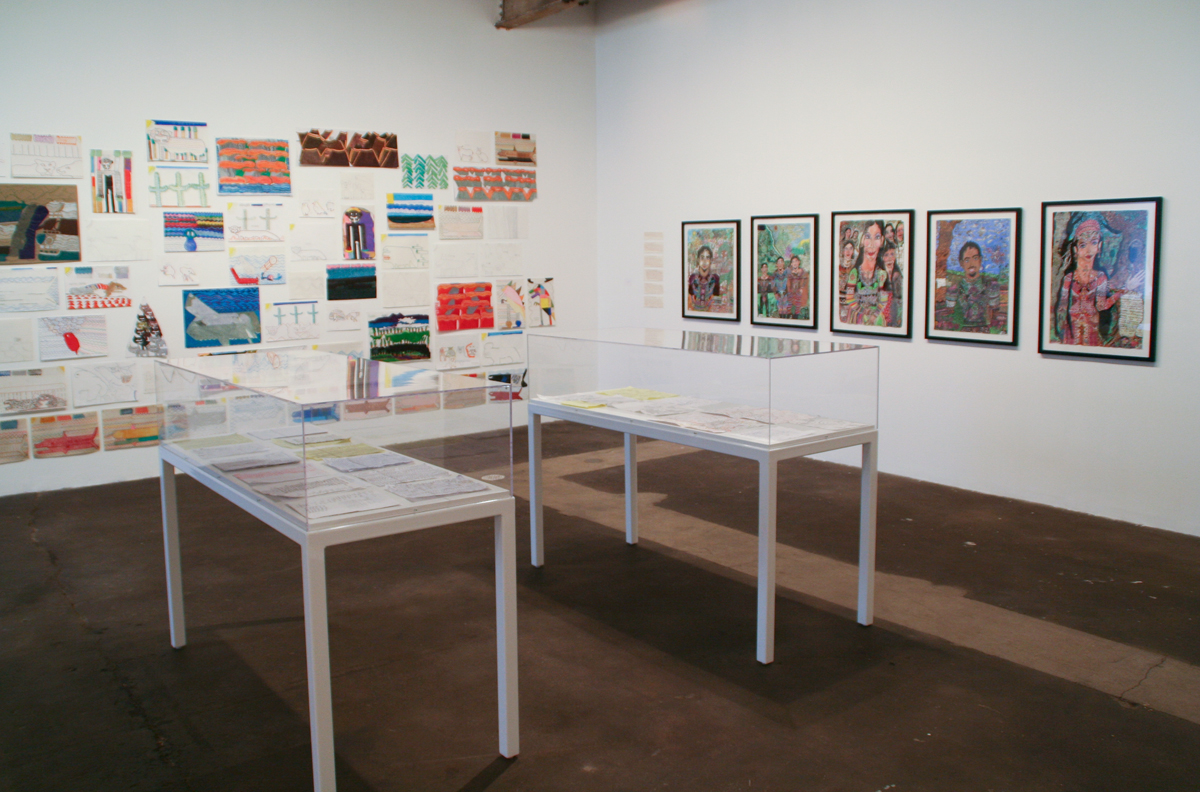 Dots and Loops, installation view. Left: David Bauman. Right and vitrines: Peder Hagen.