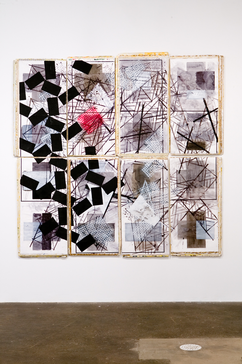 Untitled, 2007. Wallpaper, ink and paint on paper and wood. 91 inches x 89 inches x 1 ½ inches.
