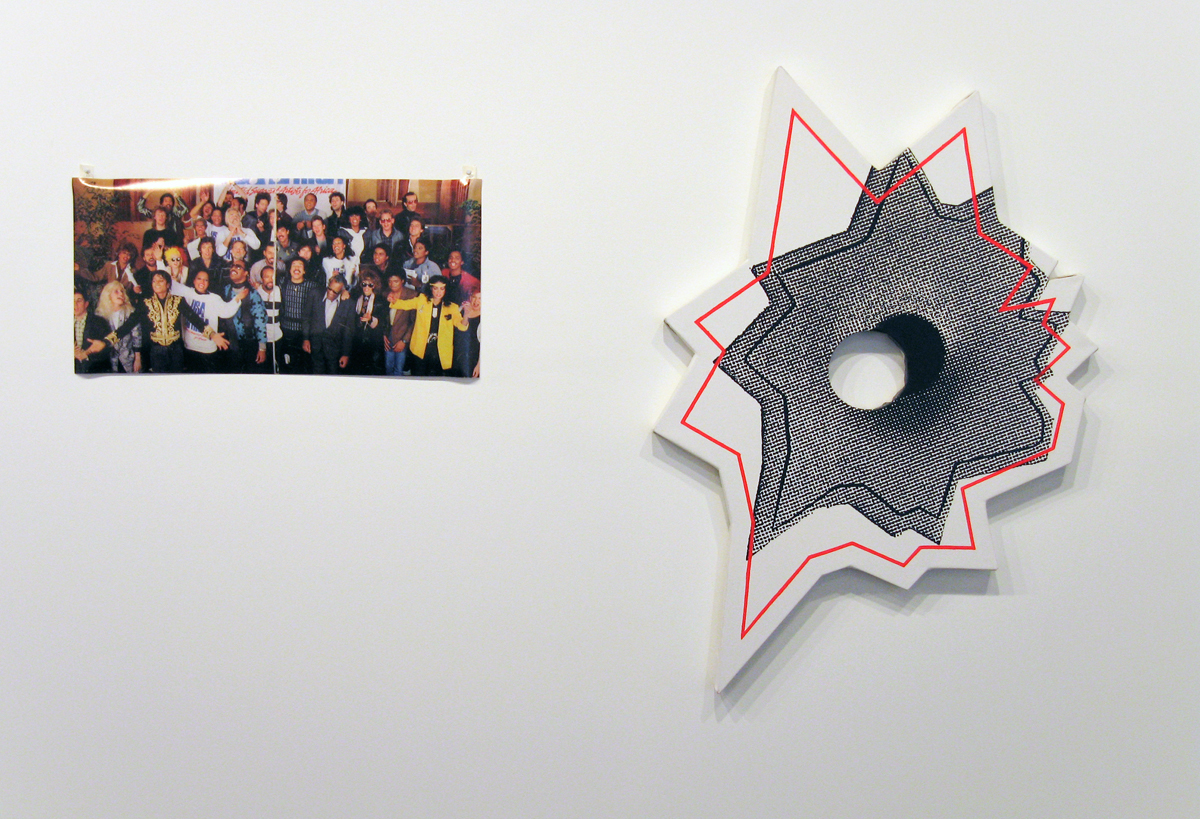 Axis of Praxis, installation view. Left: Nate Lowman, United Support of Artists for Africa, 2006. Inkjet print. Edition of 5. Right: John Tremblay and Nate Lowman, Mickey and Nicky, 2006. Acrylic and silkscreen ink on canvas. 45 inches x 34 inches.