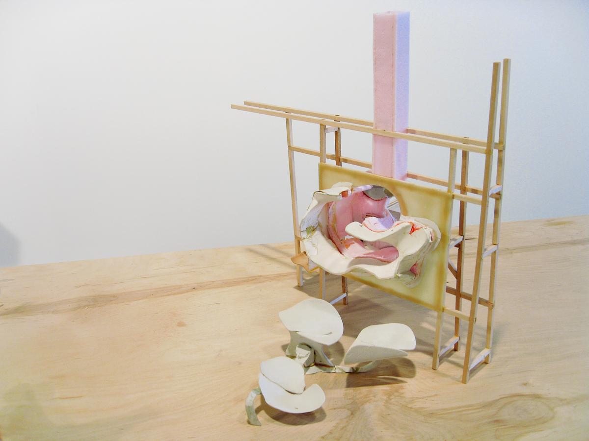 Untitled, detail, 2007. DAS clay, polyurethane foam, metal, balsa wood.