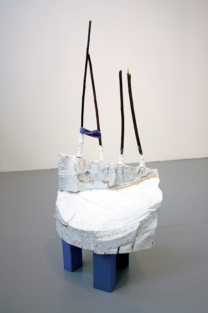 Samara Caughey, Purple, 2003. Wood, plaster, paint, rubber bands, twigs.