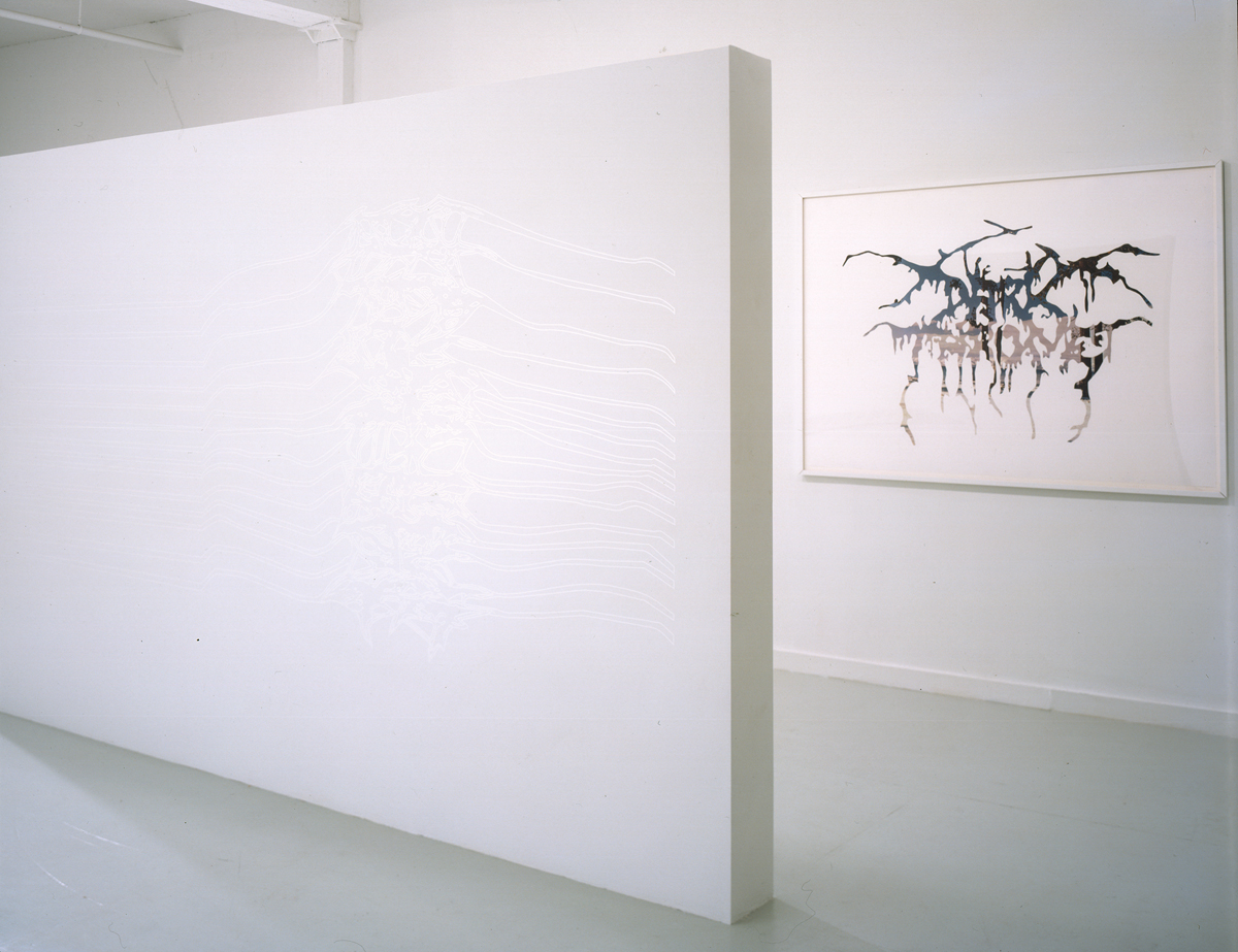 Jay Heikes and Kirk McCall, installation view. Left: Jay Heikes, The Joy Division, 2001. Vinyl. 52 x 124 inches. Edition of 1. Right: Jay Heikes, Dark Throne, 2001. Cut paper on paper. 49 x 68 inches, framed.