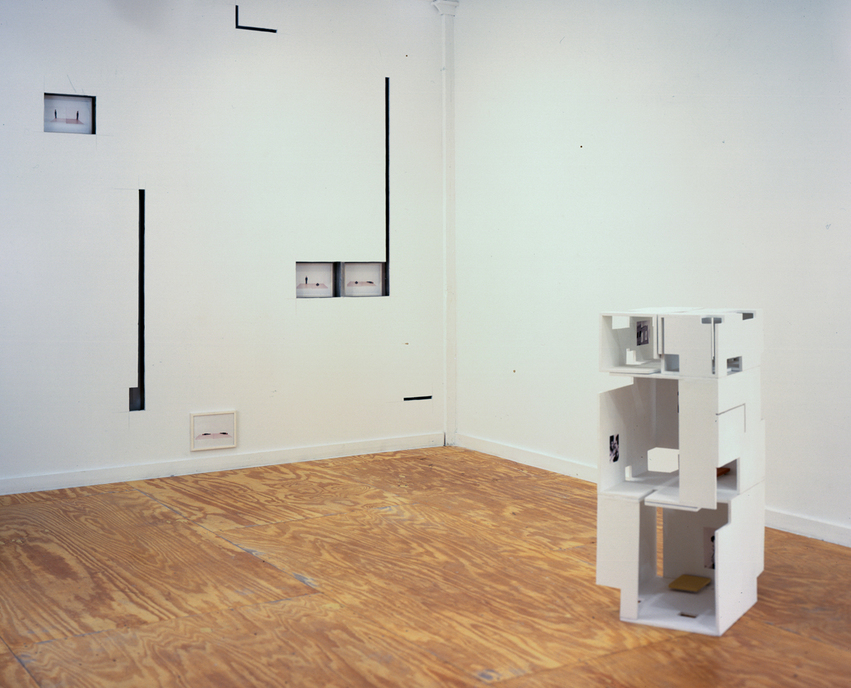 Weak Architecture, installation view. Left: Javier Cambre, Perforated Wall, 2001. Wall cuts, photographs. Right: Javier Cambre, Hotel (Paris), 2001. Wood, paint, digital print.