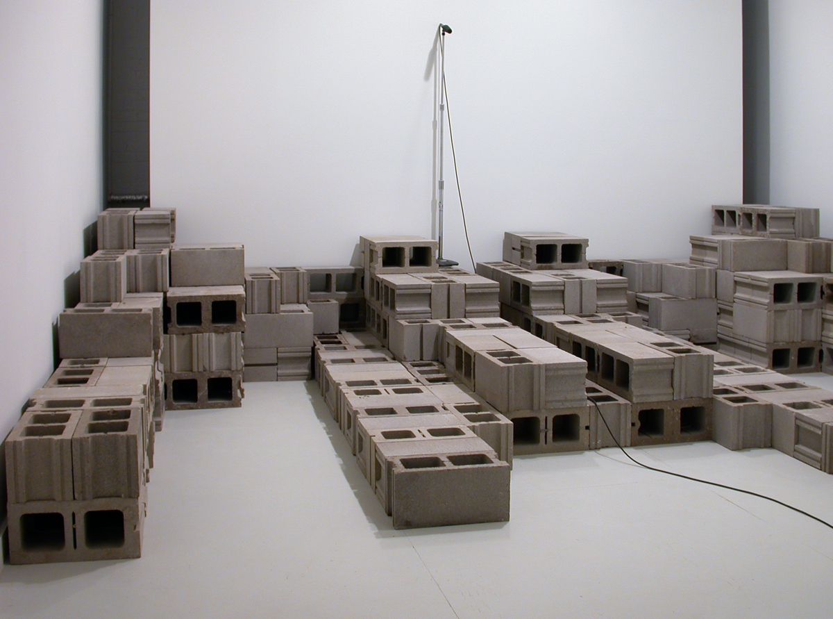 Akiko Ishikawa, A Model of Contemporary Existence This Is At Once Universal and Personal, From the (Dis)mantle Building Set Series, 2002. Sound installation.