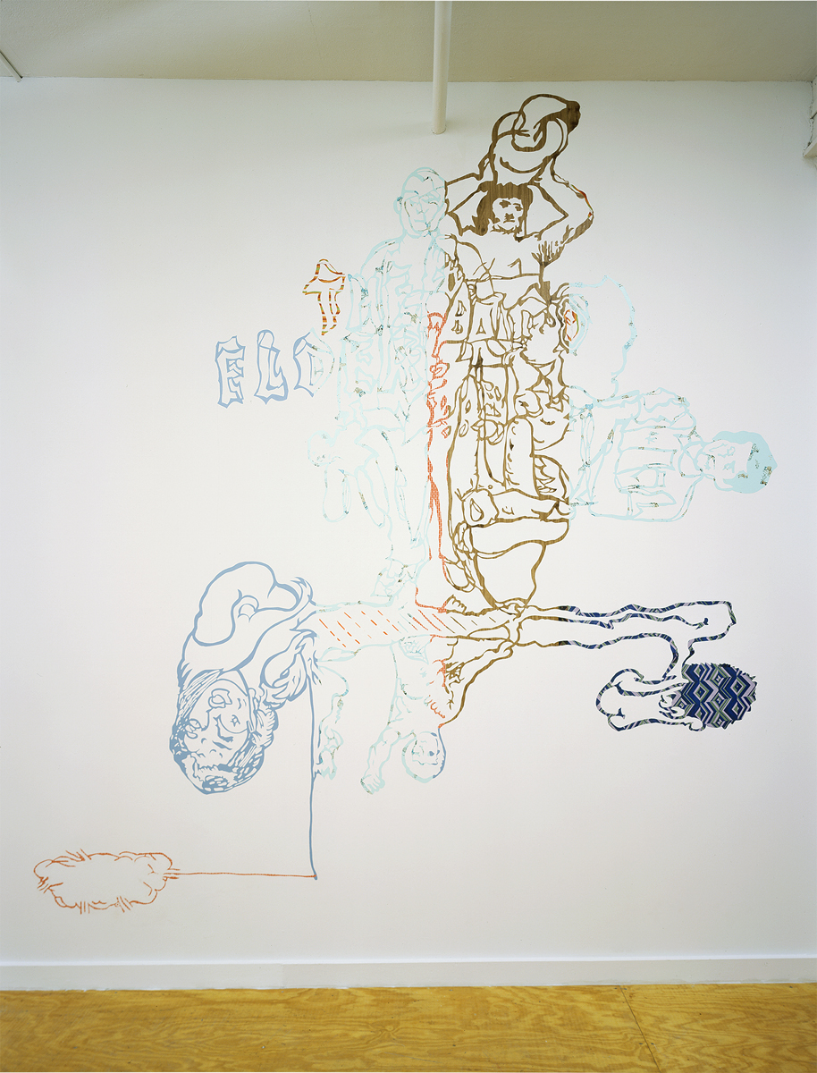 "Santiago Cucullu, ""The multi-facted T.O.A."", 2001. Contact paper. 10 feet x 9 feet 3 inches."