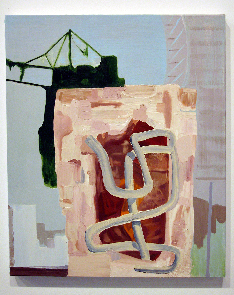 Please Get Off The Speaker Towers, 2005. Oil on canvas. 36 x 20 inches.