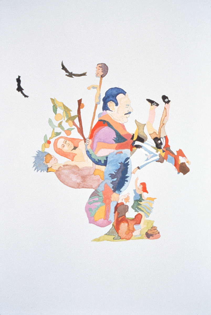 """Santiago Cucullu, """"Videla sits pretty w/the T.O.A. from here on out its wine women and song."""", 2001. Watercolor on paper. 19 ¼ x 12 ½ inches."""
